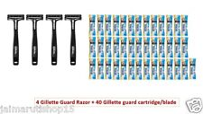 4 Gillette Guard Razor with blade cartridge + 40 blade cartridge/blade shaving