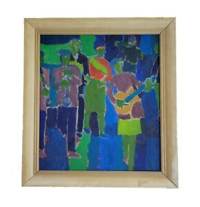 Howard Fussiner Vintage American Expressionist Oil Painting Mid Century Abstract