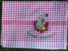 TEA TOWEL EASTER EMBROIDERED DESIG - 100% cotton