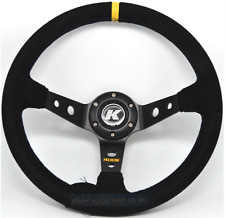 KODE-350mm Deep Dish Suede Steering Wheel BLACK Stitching Fits MOMO OMP Boss Kit