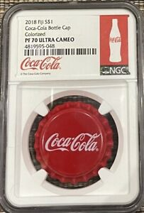 2018 Fiji Coca-Cola Bottle Cap-Shaped 6 g Silver NGC PF70 Ultra Cameo Colorized
