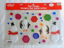 Christmas Gel Clings Snowman Snowflake Penguin 40 Pieces ONE Sheet Window Decor