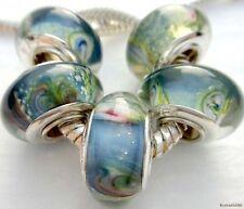 5PCS Silver Single Core Murano Lamp Glass Beads fit European Charm Bracelet A002