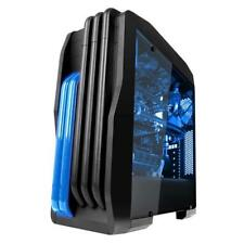1X Mid Tower Blue LED Fan / Gaming Case For PC with Side Window Panel 3 Fans Hot