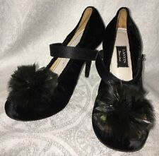 Lanvin  Shoe Black Velvet Feather Round Toe And Cool Strap Size 39 1/2