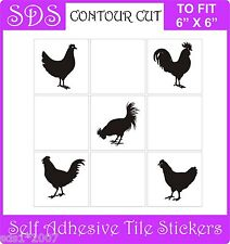 """6"""" tile stickers transfers set of 10 chickens hens - horses and cats"""
