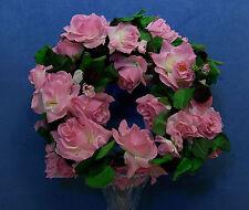 Quality 5+ Feet Pink Diamond Rose & Moss Artificial Faux Silk Flower Garland