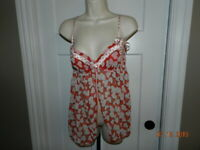 Victoria Secret Sexy Little Things Red Open Front Teddy/ Nightie Sz 36C M panty
