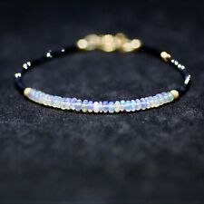 Diamond Look Natural Black Spinel & Natural Welo Opal Bracelet Solid Yellow Gold