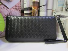 NEW - Weave pattern Long Sheepskin Wallet - Men or Women - Black
