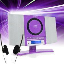 MP3 AUX CD-Player Radio Stereoanlage Wecker Uhr LCD-Display Hi-Fi lila Kopfhörer