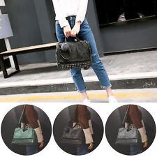 Womens Studded Large Leather Shoulder Bag Handbag Tote Purse Ladies Satchel