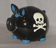 SKULL Piggy Bank Black Crossbones Blue Eye Patch Coin New Punk Rock Goth White