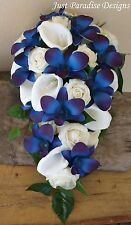Artificial Wedding Bouquet Teardrop - Roses and Orchids - Bride