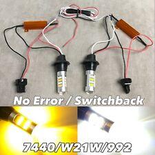 NO ERROR WHITE AMBER Switchback LED FRONT Turn Signal Bulb DRL W21W 7440 W1 JAE