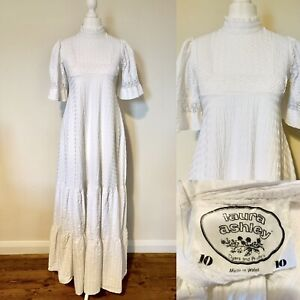 Laura Ashley White Long Prairie Dress Size 4 1970s Vintage Made In Wales Wedding