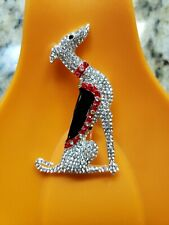 New Sparkly Rhinestone greyhound whippet sighthound pin Red Black and Bling!