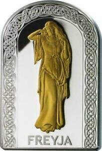 Andorra 2012 10 Diners Goddesses of Love Freya 1 Oz Silver Coin Gilded