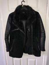 Topshop Black Faux Leather and Fur Aviator Jacket Coat Size 12