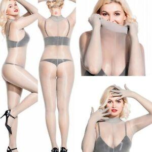 Women Full Bodystockings Shiny Sexy Pantyhose Bodyhose Gloves Hosiery Tights