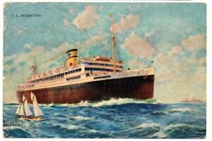 1939 postcard of American Republic Liner Argentina mailed from Barbados to US