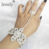 Bracelet With Finger Ring Attached Hand Ladies Bangle Womens Gold Silver Luxury