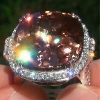 Women Men Alloy Huge 6.3CT Padparadscha Ring Wedding Engagement Size 6-10