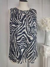 Jones New York Tank Top Womens Size 4 Animal Print Zebra Black White Sleeveless