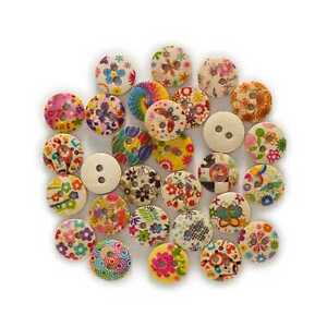 50pcs Flower Series Round Wood Buttons Sewing Scrapbook Clothing Handwork 18mm