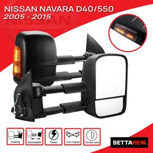 Bettaview Towing Mirrors Electric Extendable Nissan Navara D40/550 2005-2015 Blk