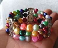 Süßwasser Perle Armband, 3 Reihen 8-9 mm Mehrfarbig Barock Perle Stretch-Armband