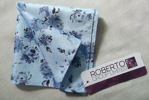 Hankie Pocket Square Handkerchief Hanky MENS Blue Flowers FLORAL NEW