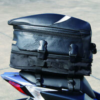 Portable Black Motorcycle Rear Bag Back Seat Helmet Pack Luggage Box Case Cover