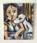 Melissa Bollen Original Oil Painting Greyhound And Girl In City Cubism Picasso