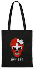 Switzerland Football Skull I Shopper Shopping Bag swiss Soccer Flag
