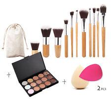 15 Color Contour Face Cream Makeup Concealer Palette 11pcs Bamboo Brush Puff Set