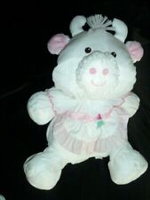 """Fisher Price Puffalump Large White Cow Bull with attached apron 1992 15"""""""