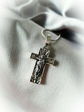 More details for jesus cross crucifix pendant necklace silver chain religious uk seller local