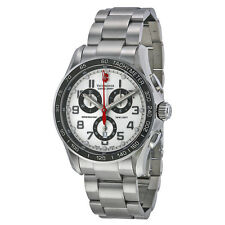 NEW VICTORINOX SWISS ARMY MEN'S CLASSIC SILVERTONE CHRONOGRAPH DIAL WATCH 241445