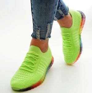 Damen Schuhe Sneaker Neon Grün Low Turn Sportschuhe Ballerina Freizeitschuhe Neu
