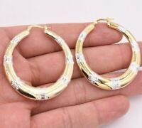"2"" 50mm Graduated Diamond Cut Hoop Earrings Yellow Two-Tone Gold Clad Silver 925"