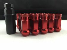 (20) 48MM TUNER STEEL RED 20 PCS 12X1.5MM LUG NUTS OPEN END EXTENDED