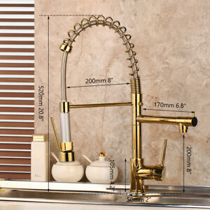 Kitchen Sink Mixer Swivel Gold Pull Down Deck Mounted Faucet Single Handle Taps