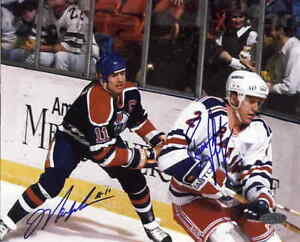 Mark Messier Brian Leetch signed autographed 8x10 Oilers v Rangers photo Steiner