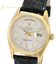 """Rolex Day-date 1803 Factory Silver Dial 18k Yellow Gold Men""""s  Leather Band"""
