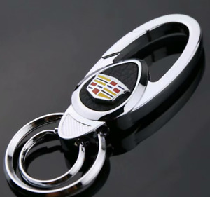 New Metal Car Auto Keychain Keyring Key Ring Holder Leather Logo for Cadillac