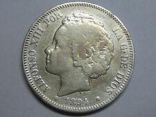 SPAIN 1894 ALFONSO XIII 2 PESETAS RARA SPANISH SPAIN COIN SILVER GENUINE
