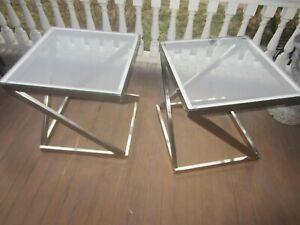 "Pair End Tables Retro Nickel Glass 22"" x 22"""