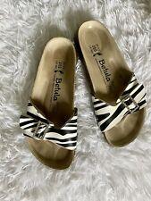 Birkenstock 39 Betula White and Black Zebra Print Leather Sandals 8.5