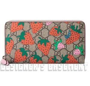 GUCCI pink leather STRAWBERRY GG Supreme canvas Zip Around wallet NIB Authentic!